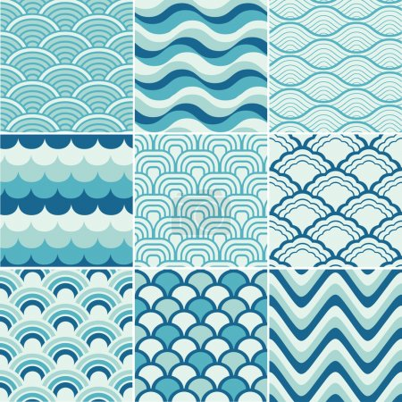 Illustration for Seamless retro wave pattern print - Royalty Free Image