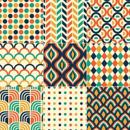 Illustration pour Imprimé motif rétro sans couture - image libre de droit