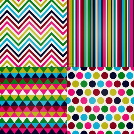 Illustration for Seamless stripes, zig zag and polka dots background - Royalty Free Image