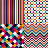 Seamless retro stripes chevron and square pattern