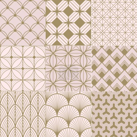 Illustration for Seamless gold and pink geometric pattern - Royalty Free Image