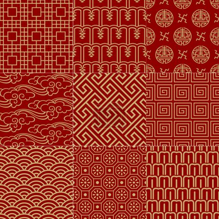 Illustration for Seamless traditional auspicious chinese mesh pattern - Royalty Free Image