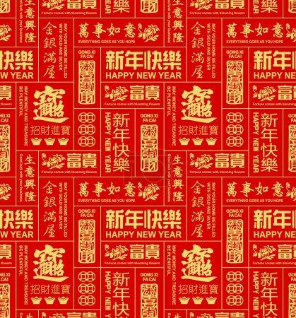 Seamless pattern of chinese new year sayings...