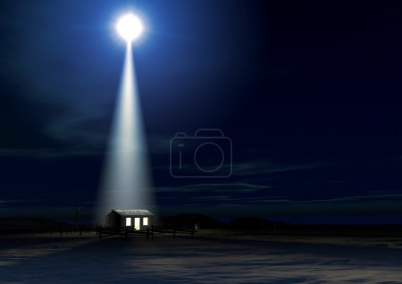 Photo for A depiction of the nativity scene of christs birth in bethlehem with the isolated run down stable being lit by a bright star - Royalty Free Image