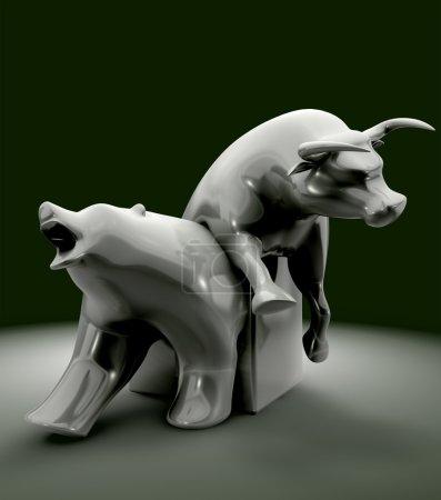 Photo pour La statue représentant le taureau vers le bas et l'ours vers le haut tendances économiques - image libre de droit