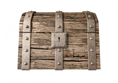 Photo for An old classic wood and iron closed treasure chest with a metal lock on an isolated background - Royalty Free Image
