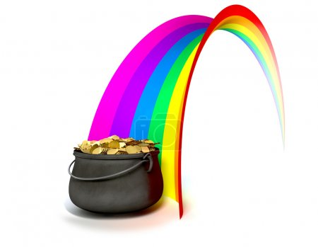 Pot O' Gold At The End Of A Rainbow