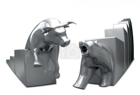 Photo pour Taureau et ours tendances économiques statuettes s'approchant les uns des autres sur un fond isolé - image libre de droit