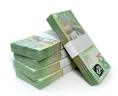 A stack of bundled one hundred australian dollar n...