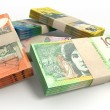 A stack of bundled australian dollar notes on an i...