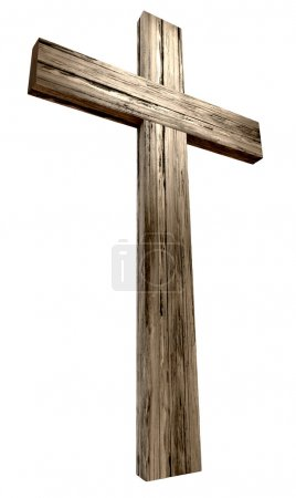 Photo for A wooden cross on an isolated background - Royalty Free Image