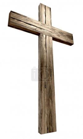 Photo pour Une croix en bois sur un fond isolé - image libre de droit