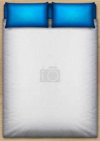 Photo for A direct top view from above a perfectly neat bed with a white duvet and two blue pillows on a wooden floor - Royalty Free Image