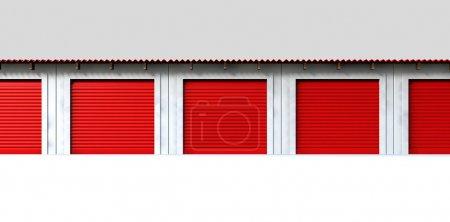 Photo pour Une vue en perspective d'une rangée de chambres de stockage avec portes fermées rouleau rouge sur un fond blanc isolé - image libre de droit