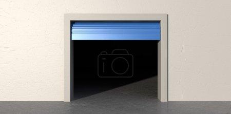 Photo pour Une vue de face sur un fond de mur blanc isolé d'une salle de stockage vide avec une porte ouverte rouleau bleu - image libre de droit