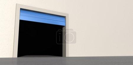 Photo pour Une vue en perspective d'une salle de stockage vide avec une porte ouverte rouleau bleu sur un fond de mur blanc isolé - image libre de droit