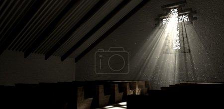 Photo pour L'intérieur de l'église ancien avec un vitrail sous la forme d'un crucifix avec un projecteur de rayons pénétrant à travers elle, affichant la même image sur le plancher - image libre de droit