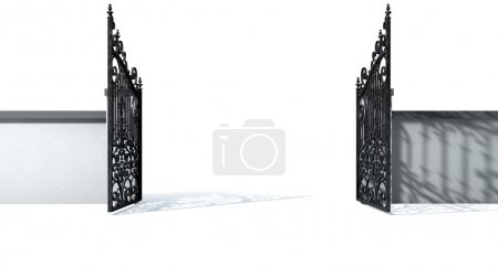 Open Ornate Gates And Wall