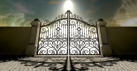 Photo for A set of closed ornate gates to heaven under an ethereal light and cloudy afterlife - Royalty Free Image