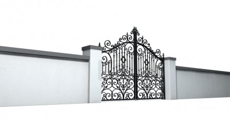 Photo for A solid plastered garden wall with an ornate shut metal gate on an isolated white background - Royalty Free Image