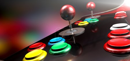 Arcade Control Panel With Joystick And Buttons