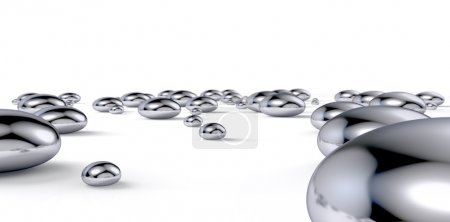 A collection of various size droplets of liquid me...