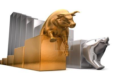Photo pour Une bulle d'or et un ours platine tendances économiques concurrentes côte à côte sur un fond blanc isolé - image libre de droit