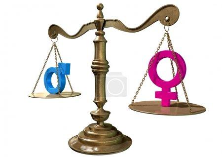 Photo pour Une échelle de justice en or avec les deux symboles de genre différents de chaque côté se équilibrant sur un backgroun blanc isolé - image libre de droit