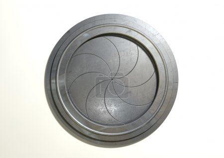 Photo pour Un portail mécanique rond futuriste avec un mécanisme sphinctérien de type sur un fond blanc isolé - image libre de droit
