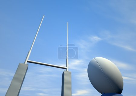 Rugby Ball Closeup Infront Of Posts
