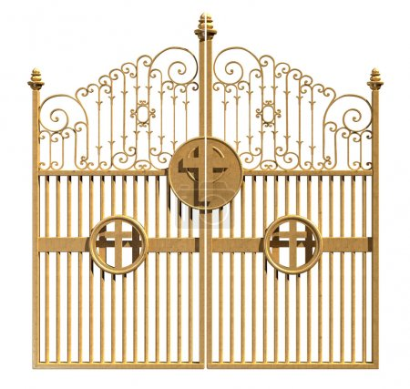 Photo for A concept image of the golden gates to heaven shut on an isolated white background - Royalty Free Image