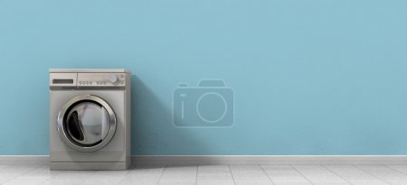 Photo pour Une vue de face d'une machine à laver en métal brossé ordinaire vide dans une pièce vide avec un sol carrelé brillant et un mur bleu bébé - image libre de droit