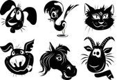 silhouettes of animals - a dog bird cat pig horse goat