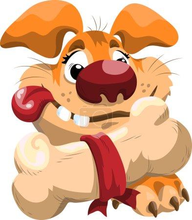 fat cartoon dog with a bone