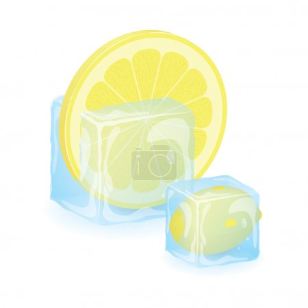 High Quality Isolated Lemon Slice In Ice Cube
