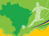 Soccer Poster With Stylized Football Player Silhouette Brasil Flag Color Vector Illustration