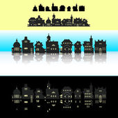 Set of pixel small building