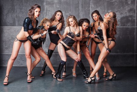 Seven Cute go-go sexy girls in black with diamonds costume pulli