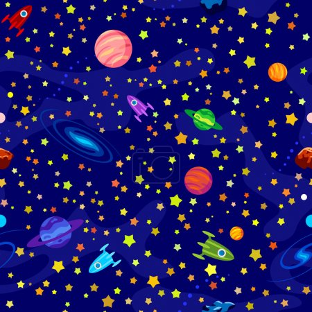 Illustration for Seamless pattern with planets, stars on blue background - Royalty Free Image
