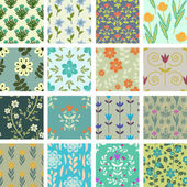 16 seamless floral patterns set