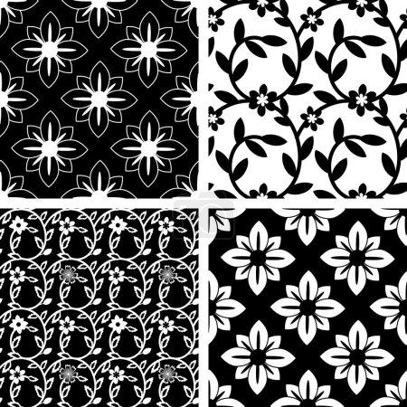 Illustration pour Ensemble de motifs sans couture noir et blanc - image libre de droit