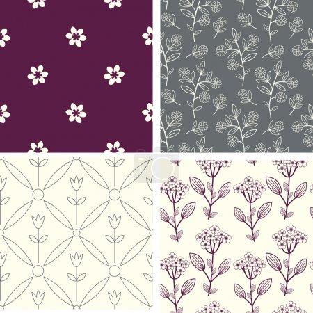 Illustration pour Ensemble décoratif motifs pastel floral - image libre de droit