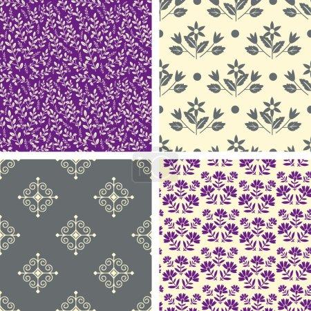Illustration pour Motifs sans couture gris et violet - image libre de droit