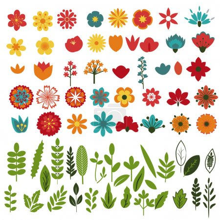 Illustration for Flowers and foliage decorative collection - Royalty Free Image