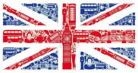 Photo pour Drapeau de l'Angleterre à partir des symboles du Royaume-Uni et de Londres - image libre de droit