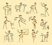 Women are engaged in different affairs Sketches in style of a retro