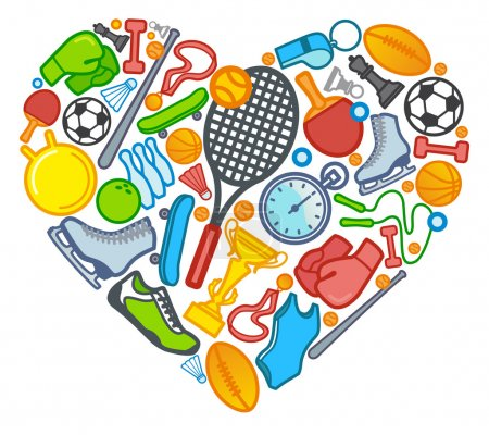 Illustration for Sports symbols in the form of heart - Royalty Free Image