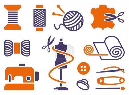 Illustration for Sewing and needlework icons. Two-coloured symbols - Royalty Free Image