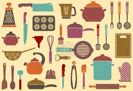 Illustration pour Fond sans couture avec ustensiles de cuisine en rétrostyle - image libre de droit