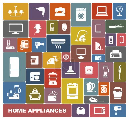 Photo for Set of icons of different home appliances - Royalty Free Image